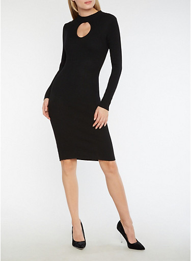 Ribbed Knit Keyhole Bodycon Dress,BLACK,large
