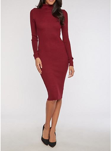 Ribbed Knit Funnel Neck Bodycon Dress at Rainbow Shops in Daytona Beach, FL | Tuggl