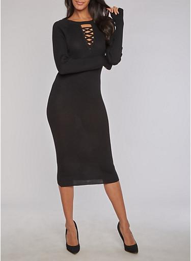 Rib Knit Caged Keyhole Neck Bodycon Dress,BLACK,large