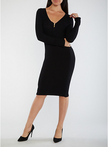 Half Zip Ribbed Knit Dress,BLACK,large