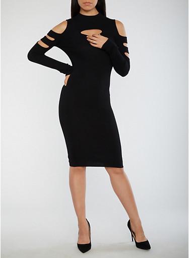 Slit Ribbed Knit Bodycon Dress,BLACK,large