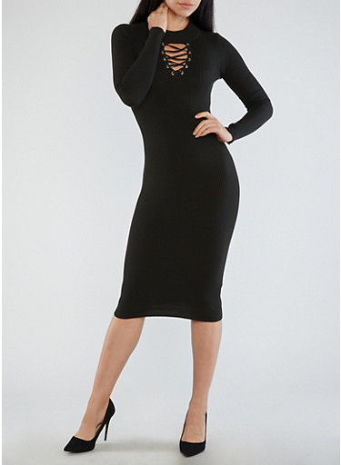 Lace Up Grommet Ribbed Knit Sweater Dress,BLACK,large