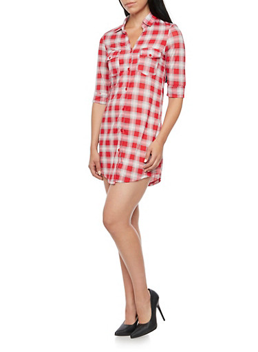 Plaid Shirt Dress with Button Front,RED/WHITE,large