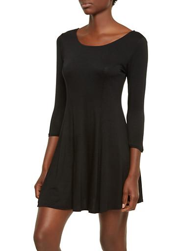 Jersey Shift Dress with Boat Neckline,BLACK,large