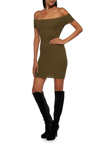 Off the Shoulder Mini Dress with Rib Knit,OLIVE,large