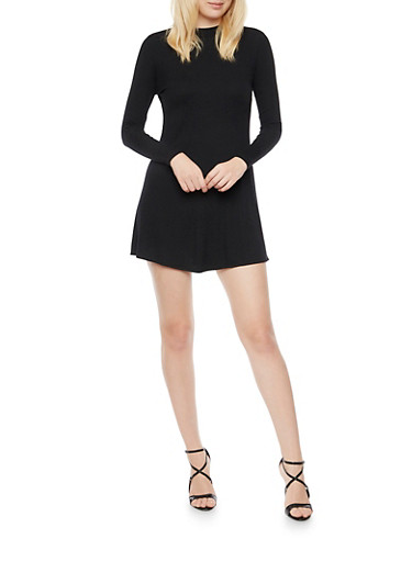 Ribbed Swing Dress with Long Sleeves,BLACK,large