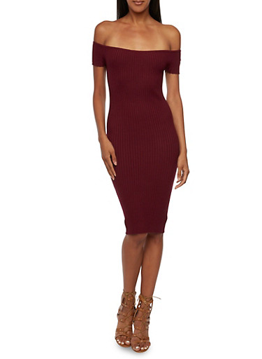 Rib Knit Off The Shoulder Bodycon Dress,BURGUNDY,large