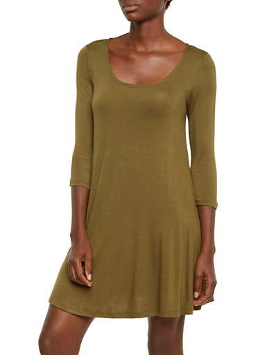 Jersey Shift Dress with Scoop Neck,OLIVE,large