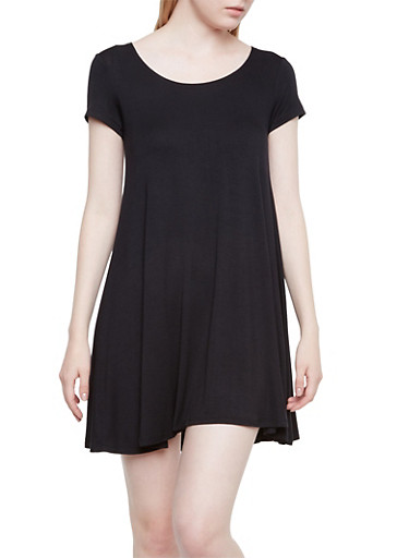 Jersey Mini Shift Dress with Scoop Neck,BLACK,large
