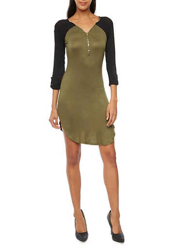 Jersey Knit Color Block Dress with Zip Neckline,OLIVE,large