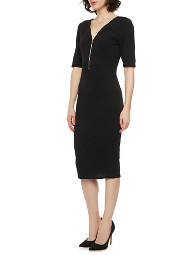 Textured Midi Dress with Zipper Neckline,BLACK,large