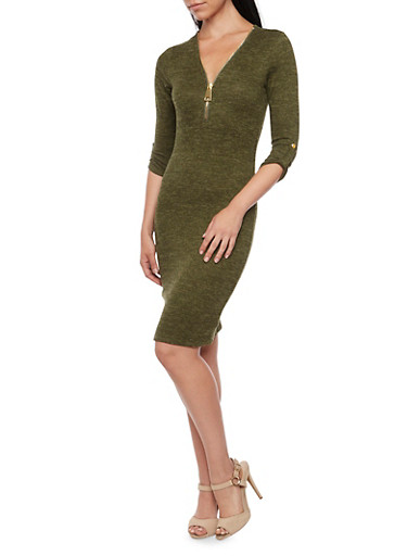 Space Dye Knit Dress with Zip Neckline,OLIVE,large