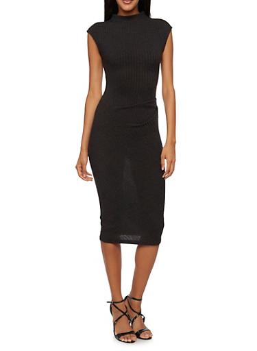 Sleeveless Dress with Gathered Waist,BLACK,large