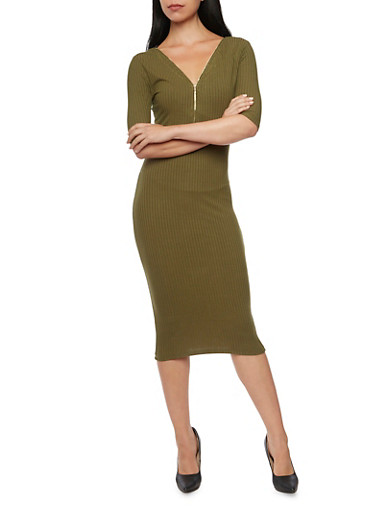 Ribbed Midi Dress with Zip Neckline,OLIVE,large