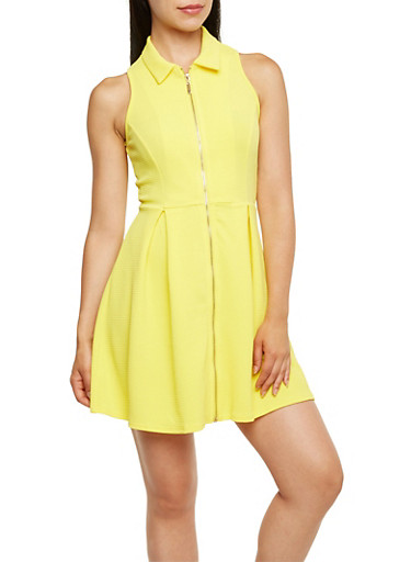 Collared Zip Front Dress,YELLOW,large
