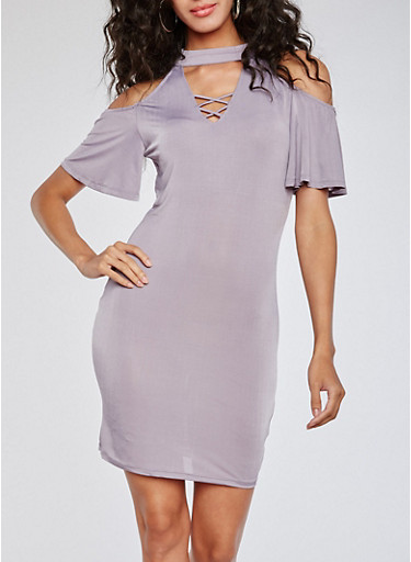 Cold Shoulder Caged Neck Dress,DUSK,large