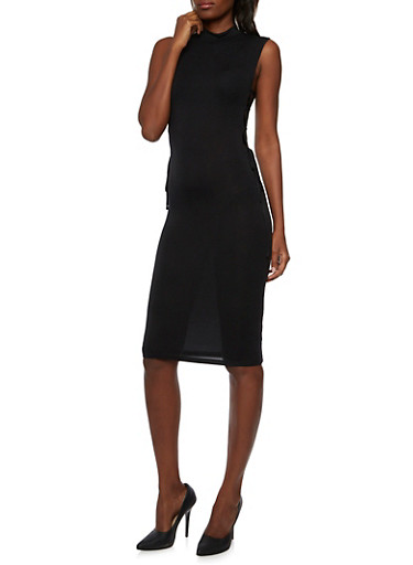 Jersey Bodycon Dress with Lace Up Sides,BLACK,large