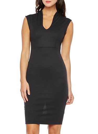 V-Neck Cap Sleeve Midi Dress,BLACK,large