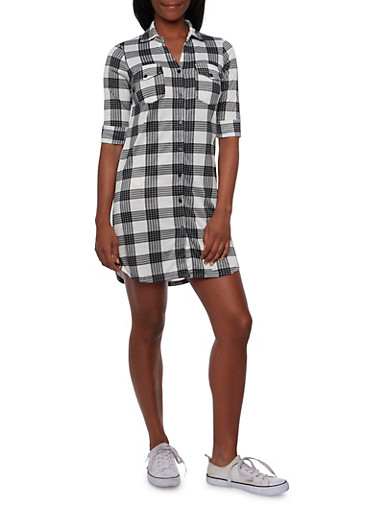 Plaid Shirt Dress with Button Front,BLACK/WHITE,large