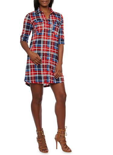 Plaid Shirt Dress with Fixed Cuff Sleeves,BLUE-RED,large