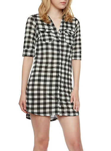 Gingham Print Button-Down Dress,BLACK/WHITE,large