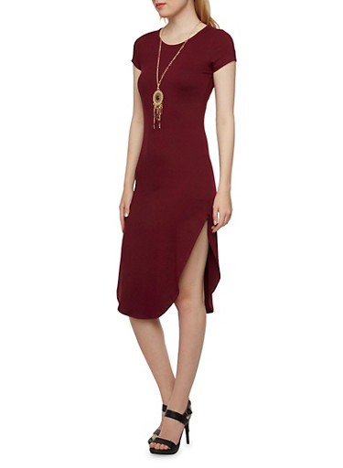 Midi Dress with Necklace,BURGUNDY,large