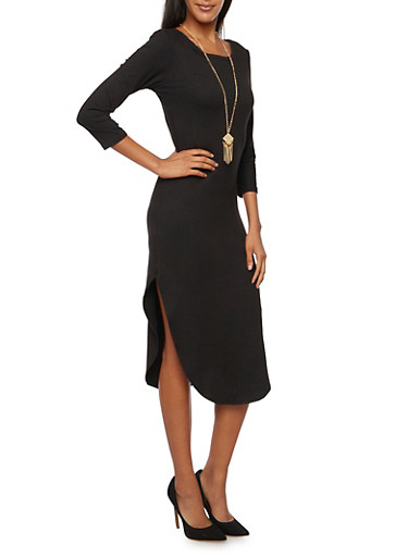 Scoop Neck Dress with Removable Necklace,BLACK,large