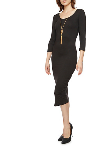 Bodycon Midi Dress with Necklace,BLACK,large