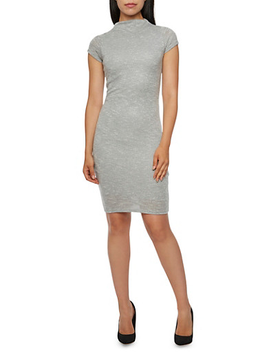 Tri-Color Knit Midi Dress with Mock Neck,HEATHER,large
