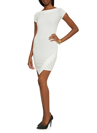 Textured Knit Boat Neck Dress with Envelope Hem,WHITE,large