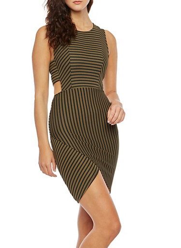 Striped Bodycon Dress with Side Cutouts,OLIVE,large