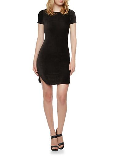 Stretch Velvet Mini Dress with Short Sleeves,BLACK,large