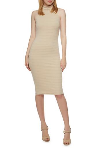 Mock Neck Bandage Dress,TAUPE,large