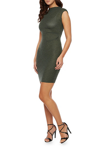 Knit Bodycon Midi Dress with Ruched Front,OLIVE,large