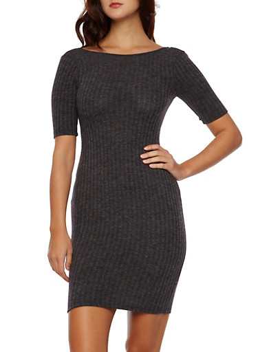 Rib Knit Dress with Plunging Scoop Back,CHARCOAL,large