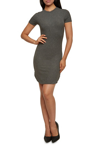Ribbed Dress with Short Sleeves,CHARCOAL,large