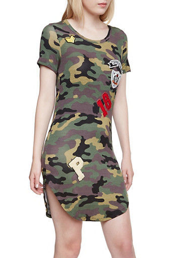 Camo T Shirt Dress with Patches,OLIVE,large