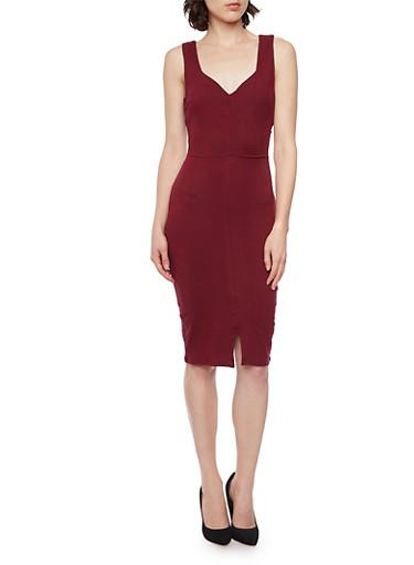 Sleeveless Dress with Lattice Back,BURGUNDY,large