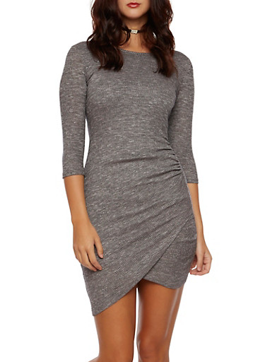Marled Knit Dress with Fixed Wrap Front,GRAY,large