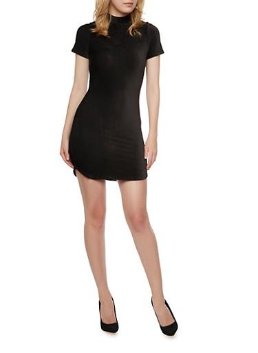 Mock Neck Stretch Velvet Mini Dress,BLACK,large