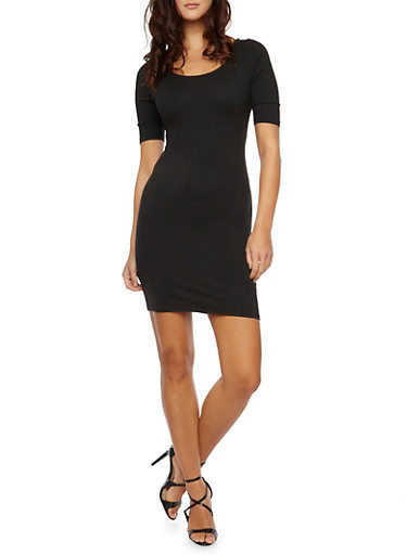 Bodycon Mini Dress with Crisscross Back,BLACK,large