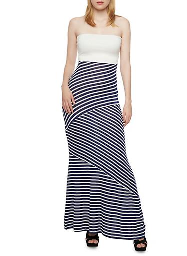 Strapless Maxi Dress with Wrap Stripes,WHITE,large