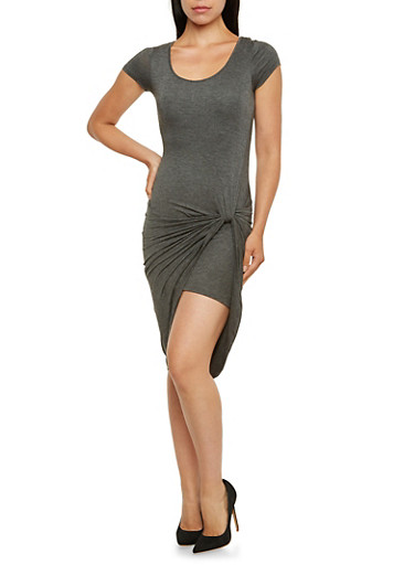 Knotted Asymmetrical Dress,CHARCOAL,large