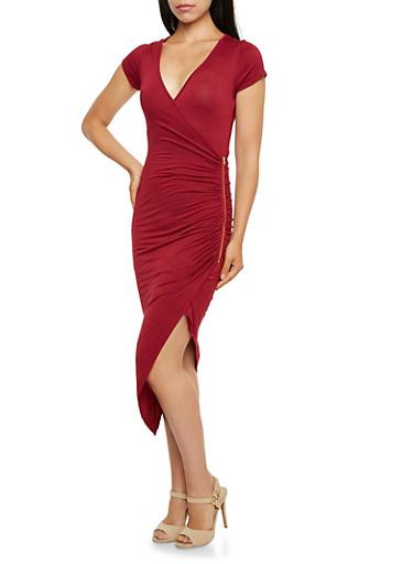 Faux Wrap Maxi Dress with Asymmetrical Hem and Zipper,BURGUNDY,large