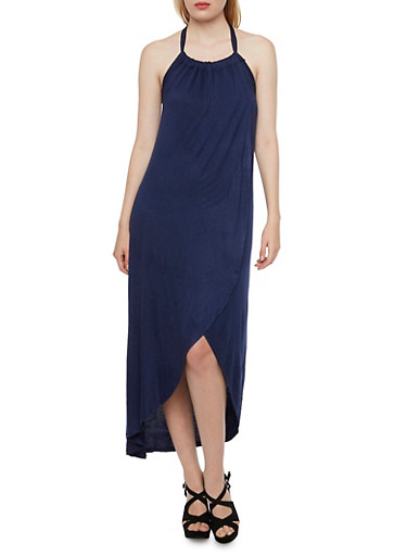 Halter Dress with Fixed Draped Paneling,NAVY,large