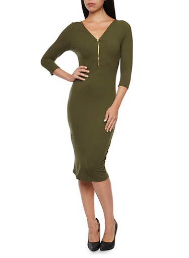 Bodycon Dress with Zip V Neck,OLIVE,large