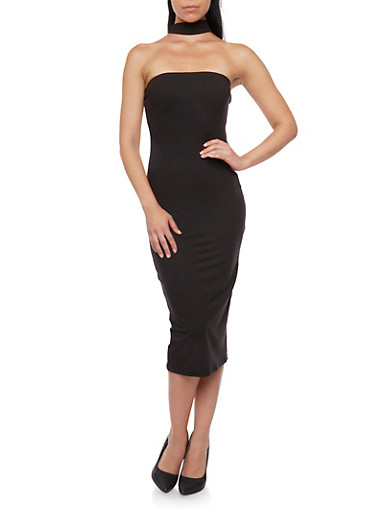 Tube Midi Dress with Choker Neck,BLACK,large