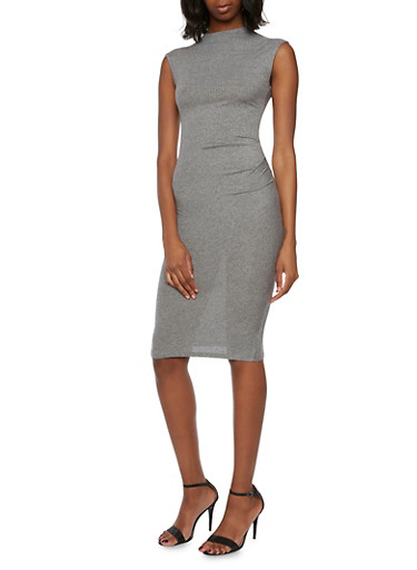 Rib Knit Midi Dress,GRAY,large
