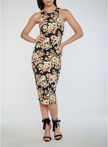 Floral Midi Bodycon Dress,BLACK,large