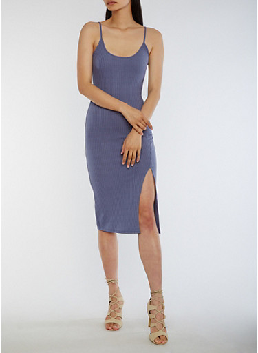 Ribbed Knit Bodycon Dress with Side Slit,HERON,large